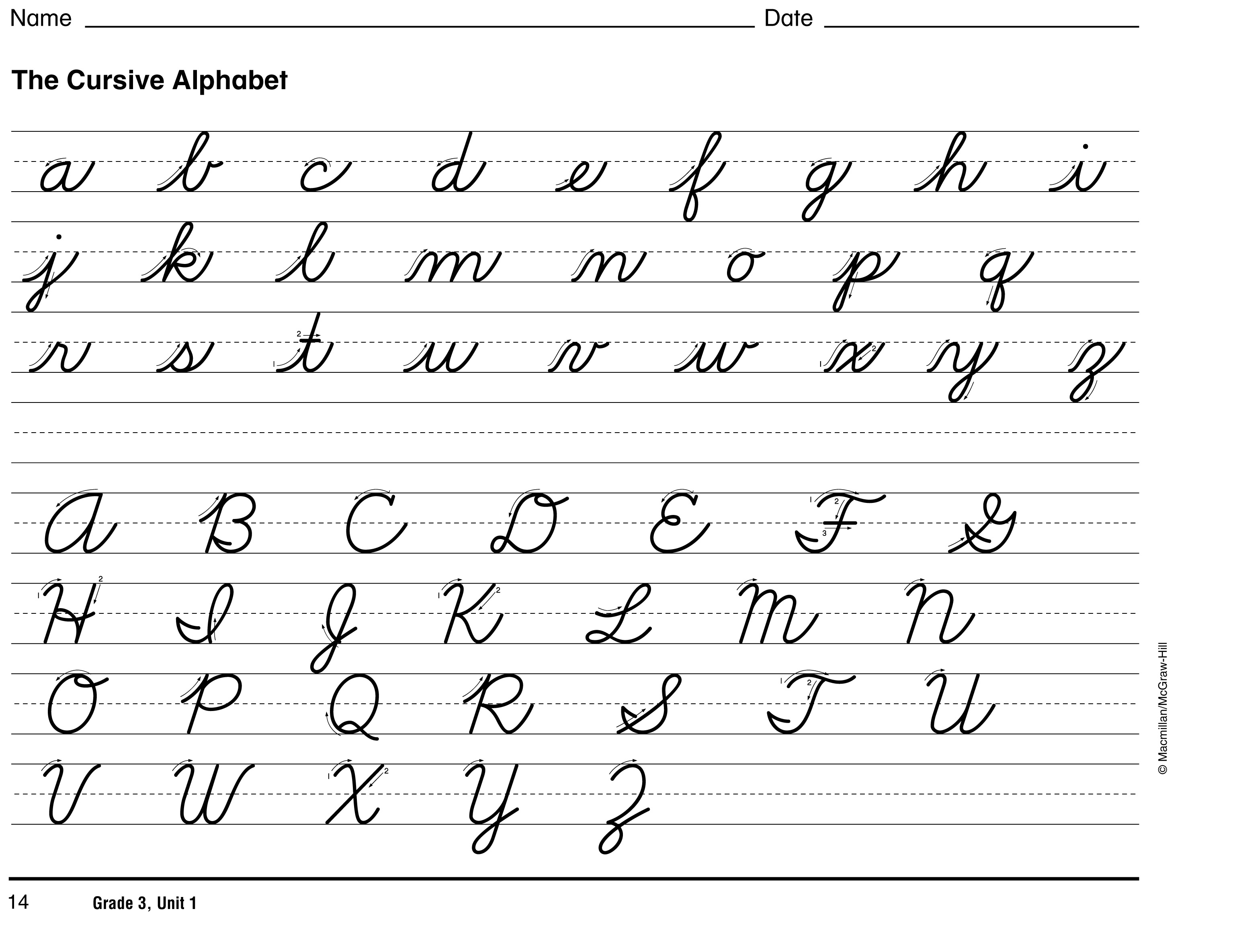 in cursive writing Aluv (going into 3rd grade) has been working on cursive handwriting and loving it i checked out the order in which handwriting without tears suggests to teach cursive and created some cursive handwriting worksheets for him to coincide with their developmental suggestions.